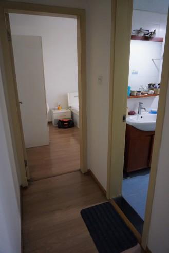 Blick von Haustür Richtung Bad und Schlafzimmer